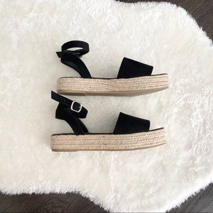 Black Flatform Espadrille Sandals